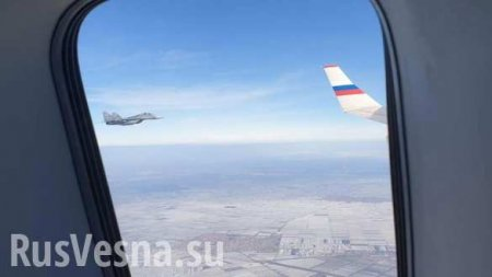 Сербские МиГи из окна самолёта Шойгу: почётный эскорт внебе надБелградом (ВИДЕО)