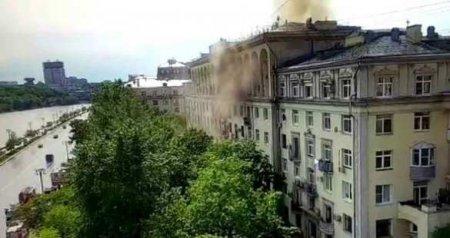 Пожар на Фрунзенской набережной в центре Москвы, горит жилой дом (+ФОТО, ВИДЕО)
