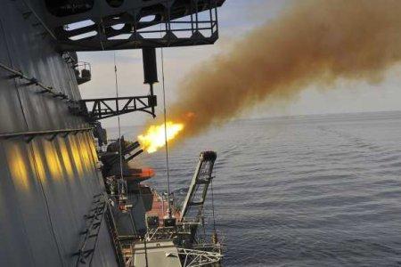 Удары по корабельной группировке «противника» с ракетных крейсеров в Баренцевом море (ВИДЕО)