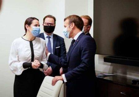 Макрон встретился с Тихановской и переврал её фамилию (ФОТО, ВИДЕО)